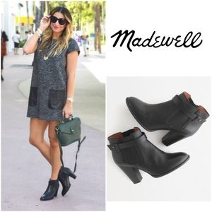 Madewell Lonny Black Leather Heeled Ankle Boots